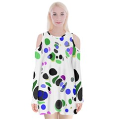 Colorful Random Blobs Background Velvet Long Sleeve Shoulder Cutout Dress by Nexatart