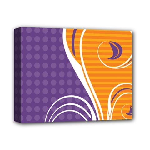 Leaf Polka Dot Purple Orange Deluxe Canvas 14  X 11  by Mariart