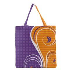 Leaf Polka Dot Purple Orange Grocery Tote Bag by Mariart