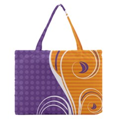 Leaf Polka Dot Purple Orange Medium Zipper Tote Bag by Mariart