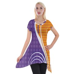 Leaf Polka Dot Purple Orange Short Sleeve Side Drop Tunic by Mariart
