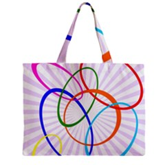 Abstract Background With Interlocking Oval Shapes Zipper Mini Tote Bag by Nexatart