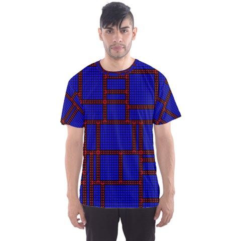 Line Plaid Red Blue Men s Sport Mesh Tee by Mariart