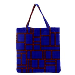 Line Plaid Red Blue Grocery Tote Bag by Mariart