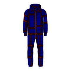 Line Plaid Red Blue Hooded Jumpsuit (kids) by Mariart