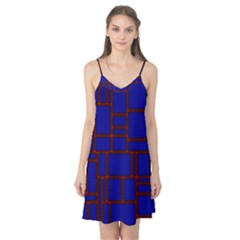 Line Plaid Red Blue Camis Nightgown by Mariart