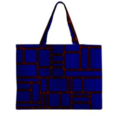 Line Plaid Red Blue Medium Zipper Tote Bag by Mariart