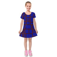 Line Plaid Red Blue Kids  Short Sleeve Velvet Dress by Mariart