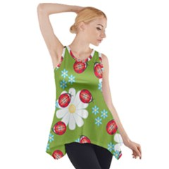 Insect Flower Floral Animals Star Green Red Sunflower Side Drop Tank Tunic by Mariart