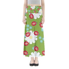 Insect Flower Floral Animals Star Green Red Sunflower Maxi Skirts by Mariart