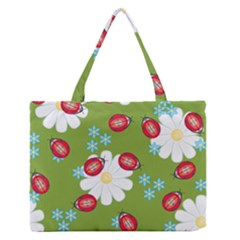 Insect Flower Floral Animals Star Green Red Sunflower Medium Zipper Tote Bag by Mariart