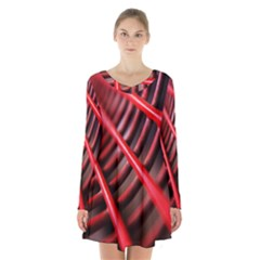 Abstract Of A Red Metal Chair Long Sleeve Velvet V Neck Dress