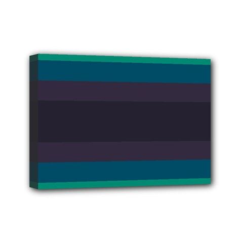 Neon Stripes Line Horizon Color Rainbow Yellow Blue Purple Black Mini Canvas 7  X 5  by Mariart