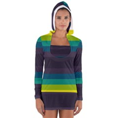 Neon Stripes Line Horizon Color Rainbow Yellow Blue Purple Black Women s Long Sleeve Hooded T Shirt by Mariart