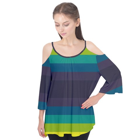Neon Stripes Line Horizon Color Rainbow Yellow Blue Purple Black Flutter Tees by Mariart
