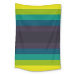 Neon Stripes Line Horizon Color Rainbow Yellow Blue Purple Black Large Tapestry by Mariart