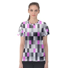 Pink Grey Black Plaid Original Women s Sport Mesh Tee