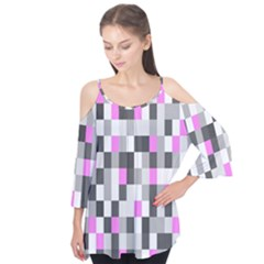 Pink Grey Black Plaid Original Flutter Tees by Mariart