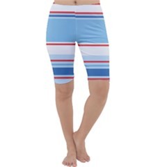 Navy Blue White Red Stripe Blue Finely Striped Line Cropped Leggings  by Mariart
