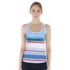 Navy Blue White Red Stripe Blue Finely Striped Line Racer Back Sports Top