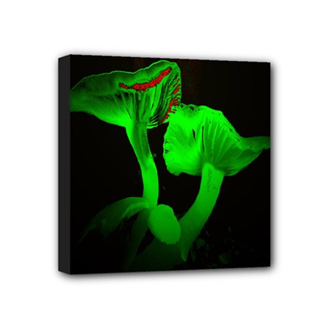 Neon Green Resolution Mushroom Mini Canvas 4  X 4  by Mariart