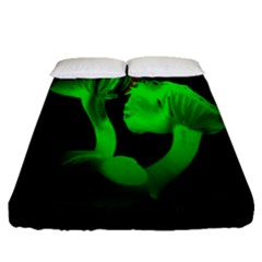 Neon Green Resolution Mushroom Fitted Sheet (queen Size) by Mariart