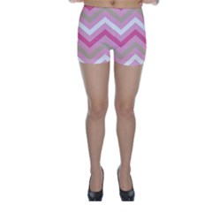 Pink Red White Grey Chevron Wave Skinny Shorts by Mariart
