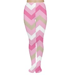 Pink Red White Grey Chevron Wave Women s Tights by Mariart