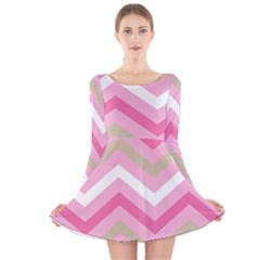 Pink Red White Grey Chevron Wave Long Sleeve Velvet Skater Dress by Mariart