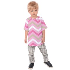 Pink Red White Grey Chevron Wave Kids  Raglan Tee by Mariart