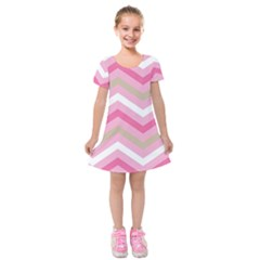 Pink Red White Grey Chevron Wave Kids  Short Sleeve Velvet Dress by Mariart