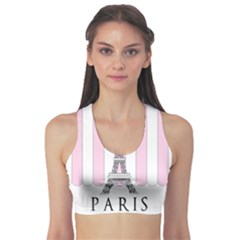 Pink Paris Eiffel Tower Stripes France Sports Bra by Mariart