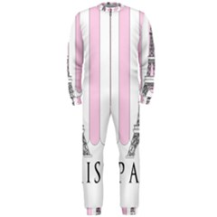 Pink Paris Eiffel Tower Stripes France Onepiece Jumpsuit (men)  by Mariart