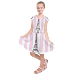 Pink Paris Eiffel Tower Stripes France Kids  Short Sleeve Dress by Mariart
