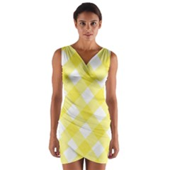 Plaid Chevron Yellow White Wave Wrap Front Bodycon Dress by Mariart