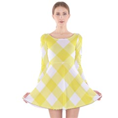 Plaid Chevron Yellow White Wave Long Sleeve Velvet Skater Dress