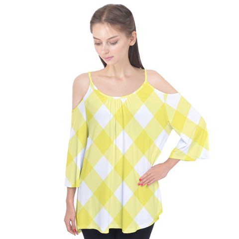 Plaid Chevron Yellow White Wave Flutter Tees by Mariart