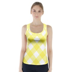 Plaid Chevron Yellow White Wave Racer Back Sports Top