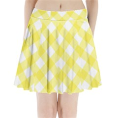 Plaid Chevron Yellow White Wave Pleated Mini Skirt by Mariart