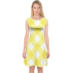 Plaid Chevron Yellow White Wave Capsleeve Midi Dress