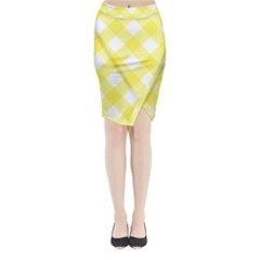 Plaid Chevron Yellow White Wave Midi Wrap Pencil Skirt