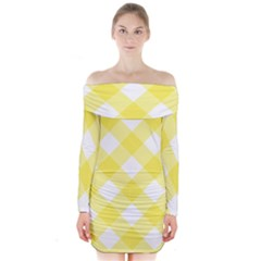Plaid Chevron Yellow White Wave Long Sleeve Off Shoulder Dress