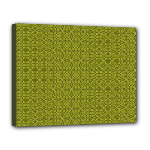 Royal Green Vintage Seamless Flower Floral Canvas 14  X 11  by Mariart