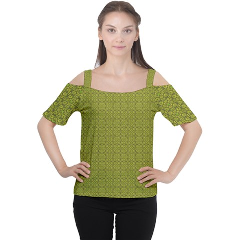 Royal Green Vintage Seamless Flower Floral Women s Cutout Shoulder Tee by Mariart