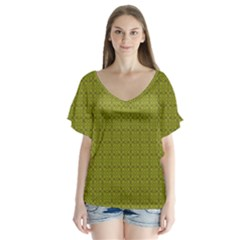 Royal Green Vintage Seamless Flower Floral Flutter Sleeve Top