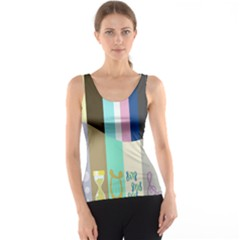 Rainbow Color Line Vertical Rose Bubble Note Carrot Tank Top by Mariart