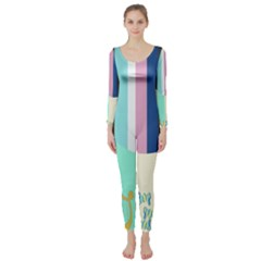 Rainbow Color Line Vertical Rose Bubble Note Carrot Long Sleeve Catsuit by Mariart