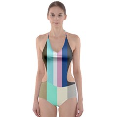 Rainbow Color Line Vertical Rose Bubble Note Carrot Cut Out One Piece Swimsuit by Mariart