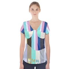 Rainbow Color Line Vertical Rose Bubble Note Carrot Short Sleeve Front Detail Top by Mariart