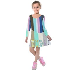 Rainbow Color Line Vertical Rose Bubble Note Carrot Kids  Long Sleeve Velvet Dress by Mariart